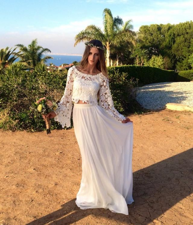 c7f3f40c42b2 Alana 2-Piece Lace + Silk Chiffon Bohemian Wedding Dress. BELL SLEEVE  hippie boho
