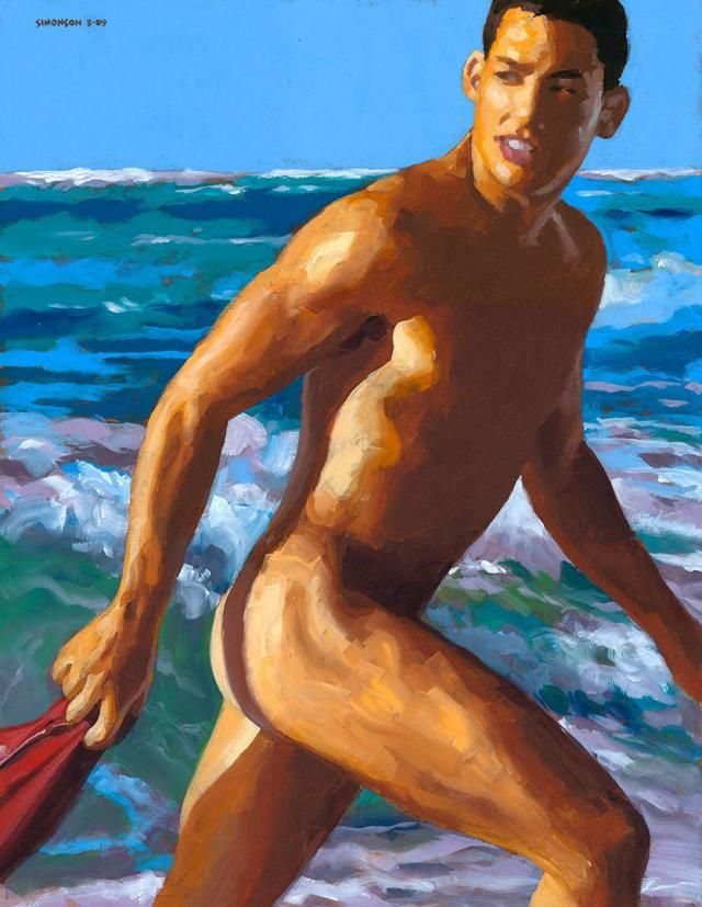 Red Trunks, Male-Nude Acrylic Painting (Mature)