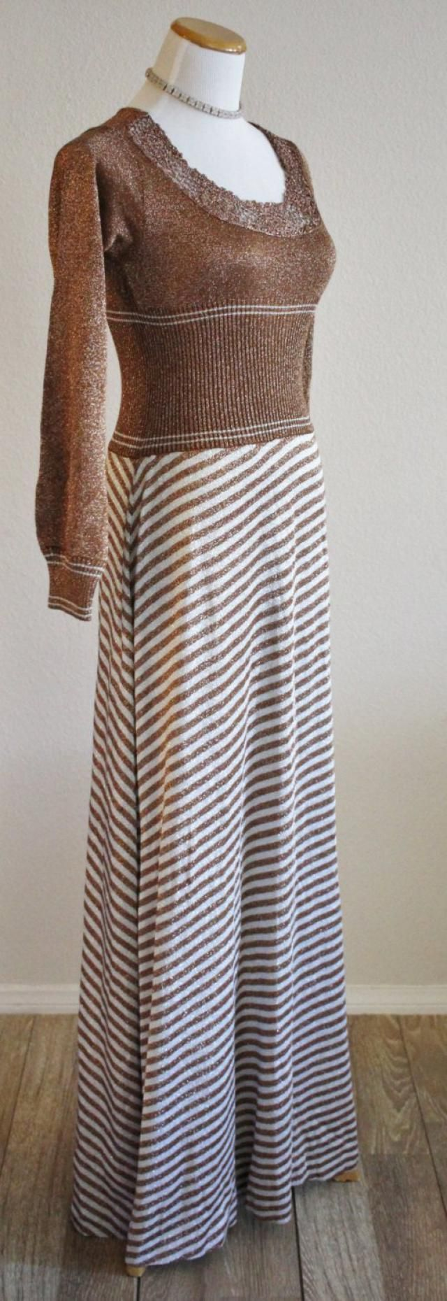 b6ea6e6bcab Vintage 60s 70s WENJILLI Copper Silver Metallic Knit Striped Acrylic  Sweater Maxi Dress Hong Kong