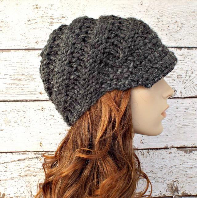 51db24420fb871 Grey Womens Hat Grey Newsboy Hat - Swirl Beanie with Visor Granite Grey Knit  Hat -