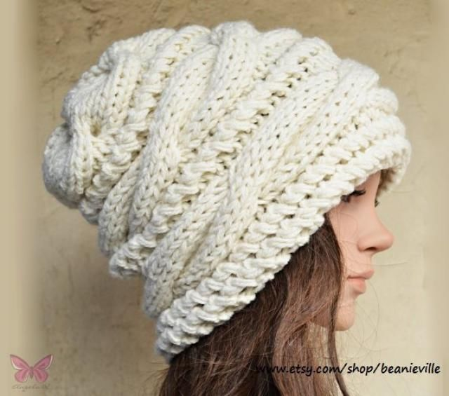 16056747e97 Slouchy cable style beanie hat - CREAM or NEW Color Choices - womens chunky  - accessories