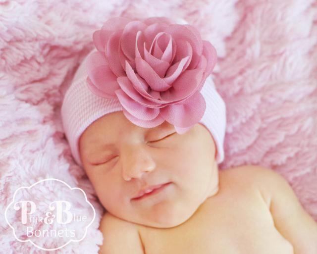 ff5fabd2281 Newborn Hospital Hat Bow Baby Girl Hospital Hat Beanie with Flower Newborn  baby girl hat with