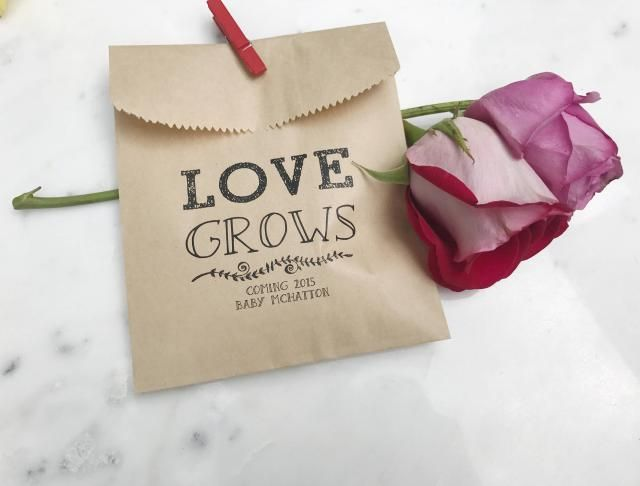 Baby Shower Favor Bags - Love Grows! - Favor Bags - Custom Printed of Brown db5f547318