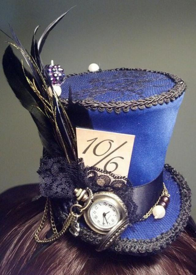 8fa343a33f9 Alice in Wonderland Mini top hat - Mad Hatter style with working pocket  watch