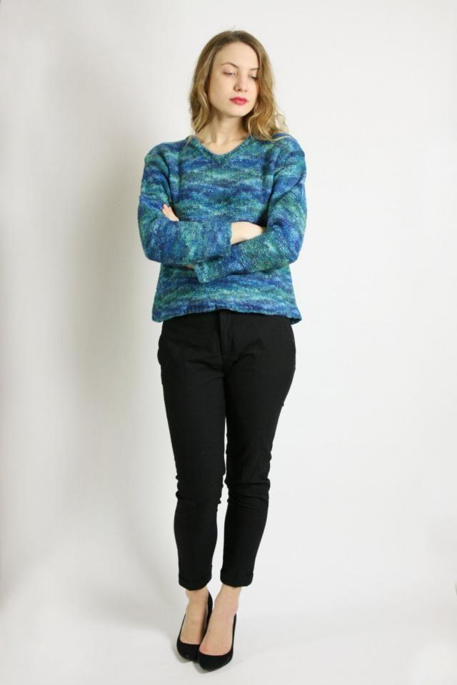 Vintage 80  s 90  s Aqua Blue Mohair Blend Baggy Sweater d46d9de14