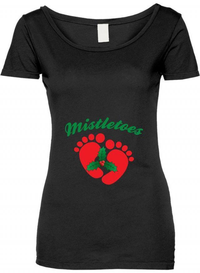 7db1e5c1ba246 Funny Mistletoes Tshirt Gift T-shirt Tee Shirt Womens Mother Christmas Pregnant  Maternity Family Santa