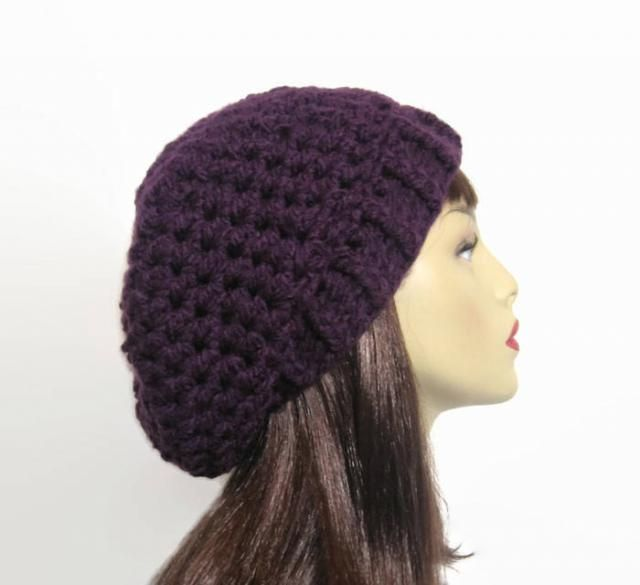 335123dfb308c Purple Crochet Beanie Purple Slouch Hat Purple Slouchy Beret Purple Knit  Beanie Purple Crochet Hat Eggplant