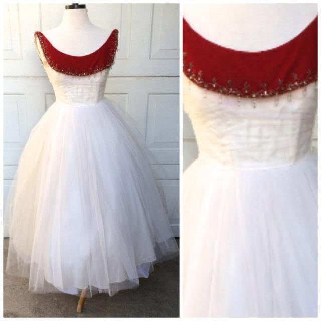 da40d4e5bc 50s white tulle princess prom dress with Red Velvet Bateau Neckline XS  Vintage Party Evening Gown
