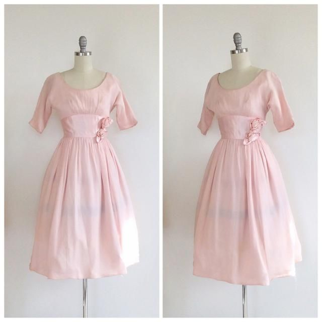 0a90ff30f14 50s Pink Silk Chiffon Party Dress   1950s Vintage Floral Prom Dress   Small    Size