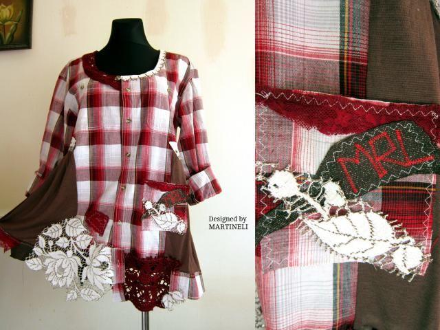 1e5efc7d4e XL XXL Plaid Shirt Dress Upcycled Clothing Plus Size Upcycled Lace Shirt Dress  Boho Plus