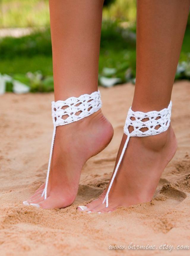Beach wedding barefoot sandal crochet will your