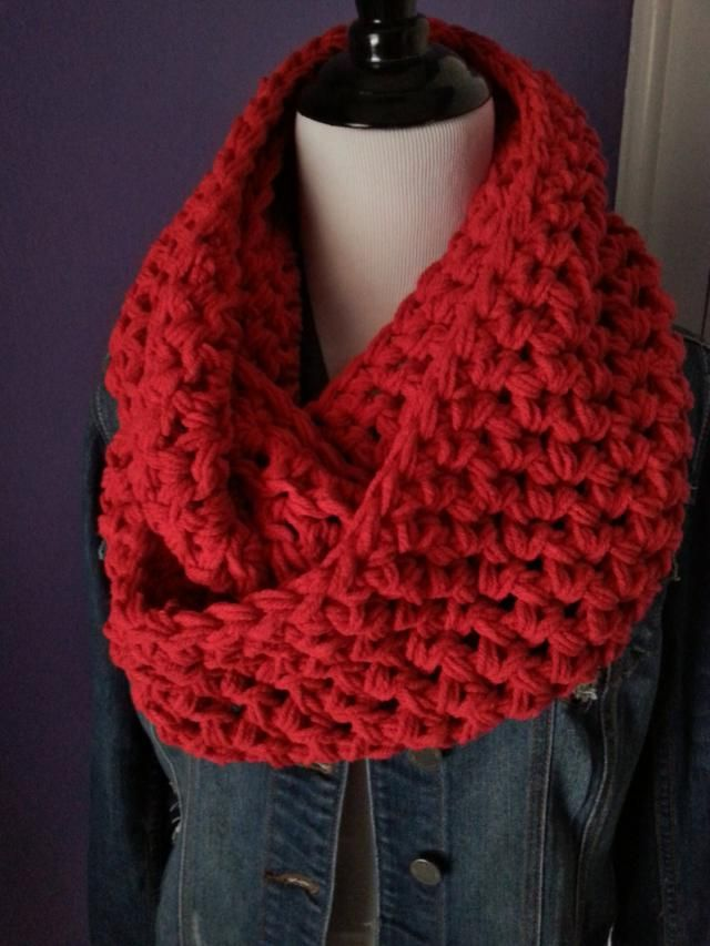 Super Chunky Knit Circle Loop Cowl Infinity Scarf Snood Grey Red Mocha Choc