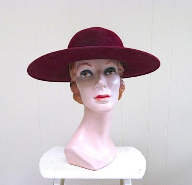 11547a4244752a Vintage 1970s YVES ST LAURENT Maroon Wool Boho Chic Wide Brim Hat