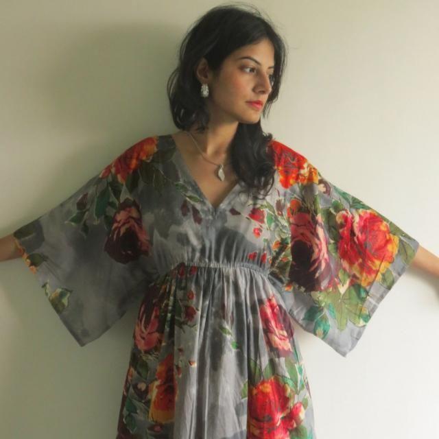 fe4d4b228bb64 Butterfly Sleeves Empire Waist Floral Kaftan Dress Summer Dress, Long Maxi,  loungewear, beachwear
