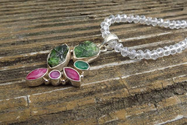 7c4638ebd67 Handmade designer necklace made with Emerald and Ruby pendant - rough  genuine gemstone - faceted red