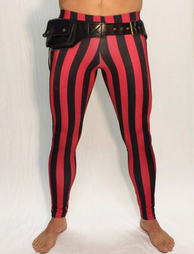 16d42e409e7a6 Red & Black Striped Circus Meggings // Steampunk Leggings // Pirate  Pants /