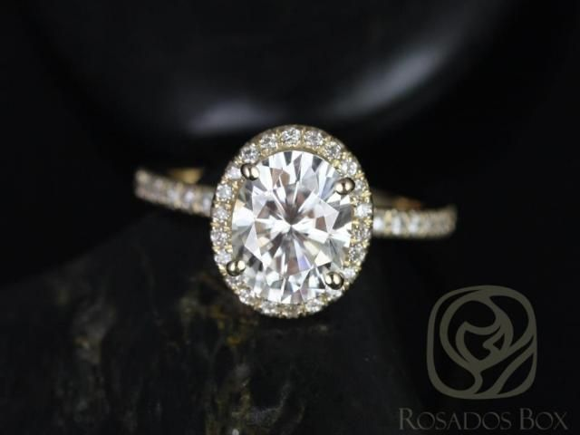 80ca19c16a0b2 Rosados Box Chantelle 8x6mm 14kt Yellow Gold Oval F1- Moissanite and Diamond  Halo Engagement Ring