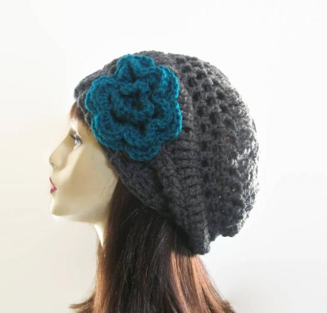 00da5d0a321 Slouchy Beanie Crochet Gray Slouchy Hat with Flower Charcoal Slouch Hat  Gray Knit Crochet Women