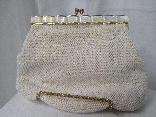 d24cd79863 Lg vtg beaded purse, Hong Kong label, vtg evening bag, beaded white purse