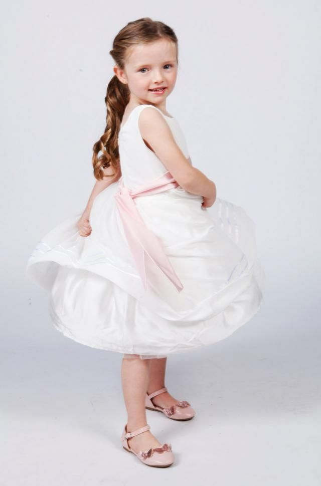 66d80445892 White Flower Girl Dress with Pale Pink Sash available in 37 colours by  Matchimony
