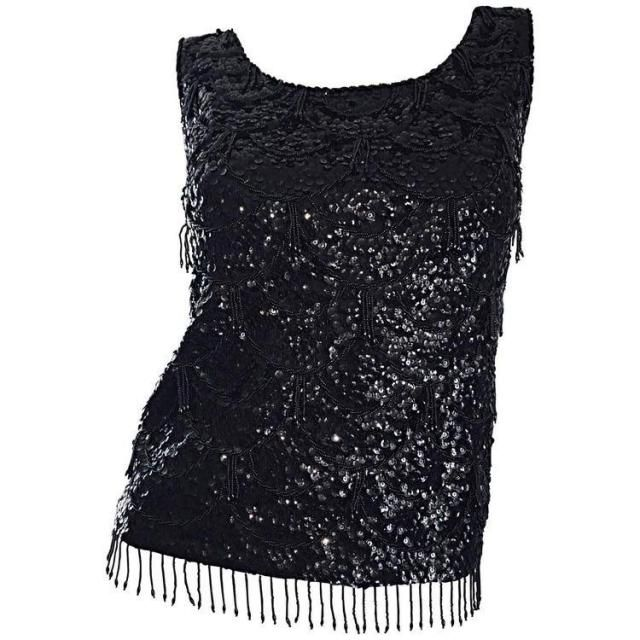 fe542671cb398 Beautiful 1960s Vintage Black Beaded Sequin Blouse   Incredible Mad Men  Style Vintage Crop Top