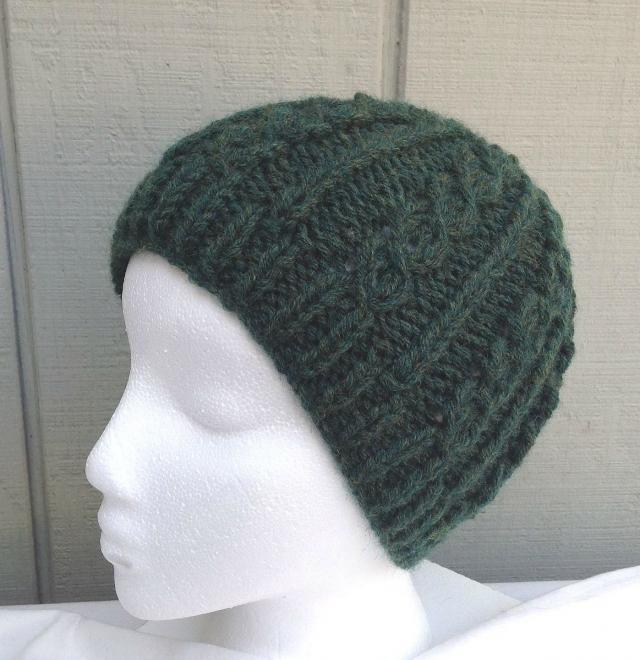 872ca446b94 Green wool mix beanie - Hand knitted green hat - Womens knit wool hat -  Teens