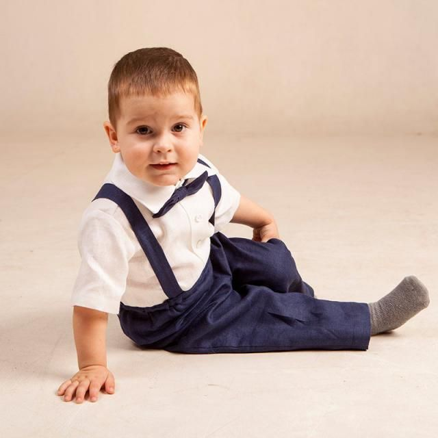 3af4cfb557 Baby boy navy blue suit Boy suspenders suit Ring bearer linen outfits 1st  birthday pants suspenders