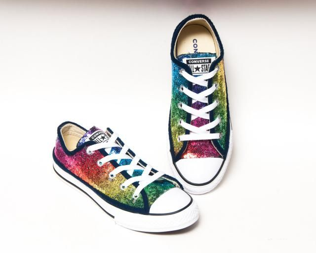 6e482e2b9555 Sequin - Youth - Rainbow Multi Colored Converse® Canvas Low Tops Sneakers  Shoes