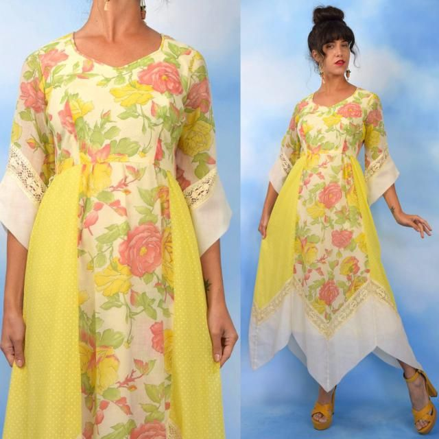 f98d06b82a694 Vintage 60s 70s Yellow Floral and Swiss Dot Cotton Voile Handkerchief  Hemline Maxi Dress (size