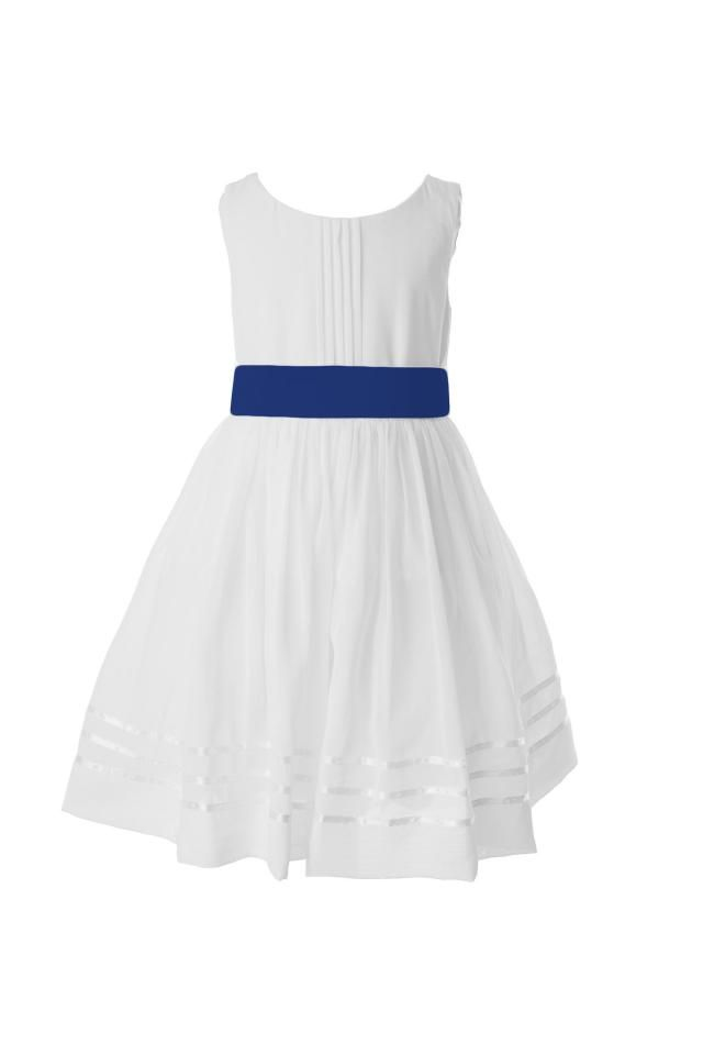 14faeb84e White Flower Girl Dress with Royal Blue Sash available in 37 colours by  Matchimony
