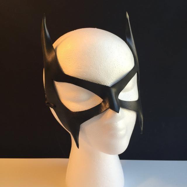 959eba97d73 Catwoman mask Villian Cosplay Cat ears Superhero Mask Black Leather Batgirl  mask Comicon Batman costume Wolverine