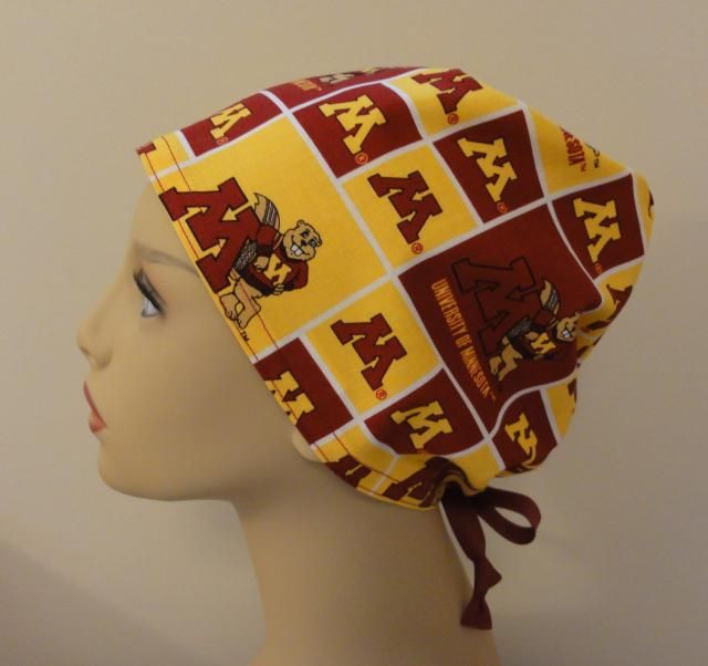 detailed look e97ad bc293 Surgical Scrub Hat made from University of Minnesota Gophers Burgundy and Gold  Surgical Scrub Cap One