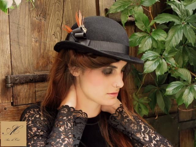 Black bowler hat - Felt winter hats for women - Women hats - British style  millinery daf999de4a7a
