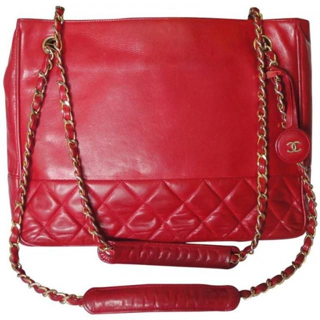c3e8d0310df63 Vintage CHANEL red calfskin classic shoulder tote bag with gold tone chains  and CC charm.