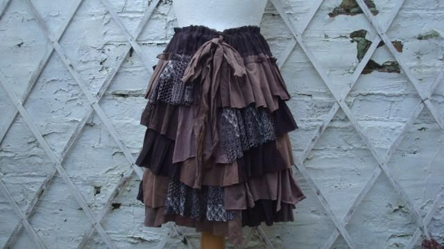 d5ad78de22 Brown Skirt Ruffled Layered Upcycled Hand Dyed Tribal Alternative Fashion  Woodland Mori Girl
