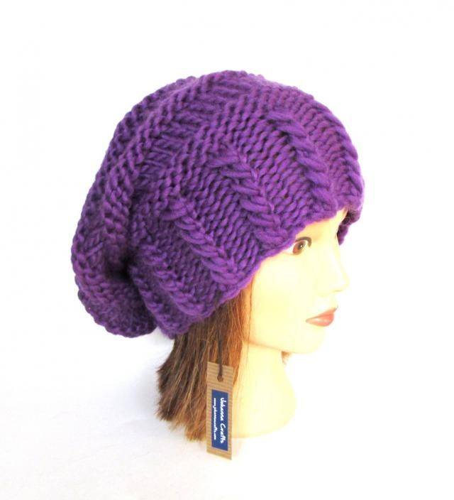 Bright purple slouchy beanie hat slouch hats beanies purple accessory for  women chunky knitted hat irish 0b9fbf33b8d4