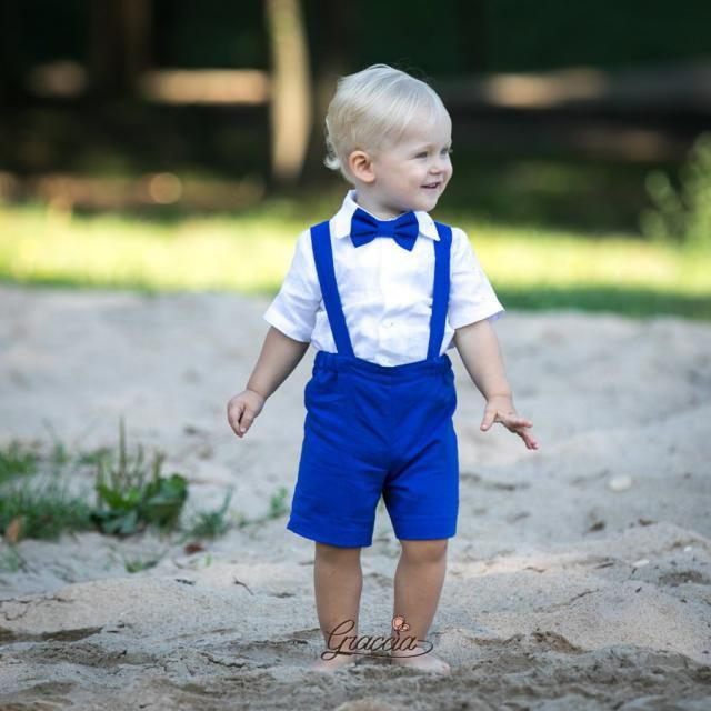 c0e981dd4 Ring bearer outfits Baby boy royal blue suit Boy shorts with suspenders bow  tie shirt Boy
