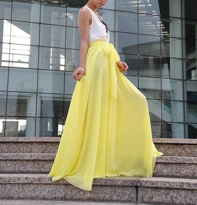53515f0159f3cc Beautiful Bow Tie Chiffon Maxi Skirt Silk Skirts Light Yellow Elastic Waist  Summer Skirt Floor Length