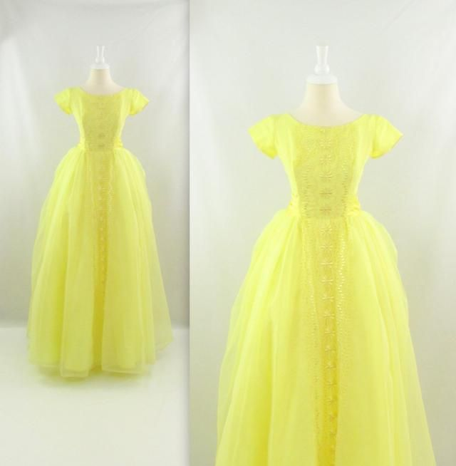 8033914d7c5 Sale Lemon Drop 1950s Prom Dress - Vintage 50s Long Tulle Party Dress in  Yellow w