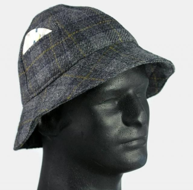 7e2d312982c245 Mens Winter Hat Grey Black Wool Plaid 6 Panel Short Brim Bucket Hat |  Sherlock Holmes