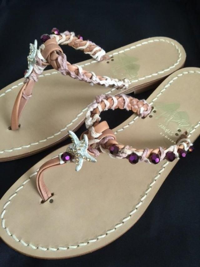 4684abb8d1ad Bespoke Starfish and Crystal Embellished Sandals - stunning hand woven  braid with stitched crystal