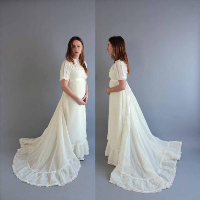 084ea605d6a sale vintage 1960s wedding dress with empire waist by Priscilla of Boston