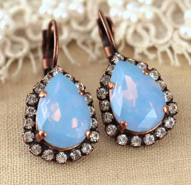 003e8ede0 Dusty Blue Earrings, Bridal Blue Earrings, Blue Opal Drop Earrings, Blue  Crystal Earrings