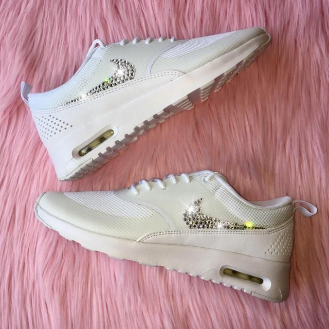 ed78a3b7d5 Bling Nike Shoes with Swarovski Crystals * Nike Air Max Thea In ALL WHITE  Bedazzled with