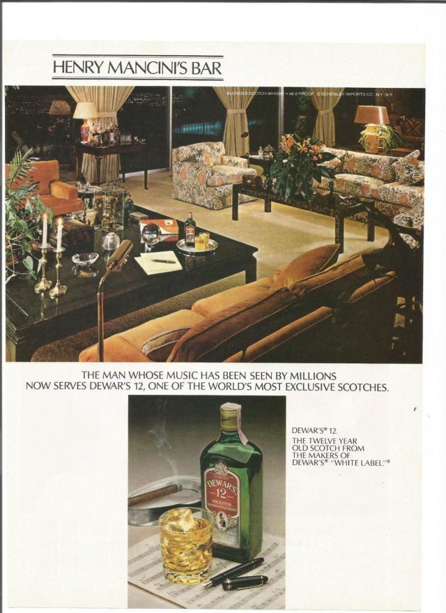 6ddb018f 1980 Advertisement Henry Mancini Dewar&;s 12 Bar American Composer  Songwriter Setter 70s 80s