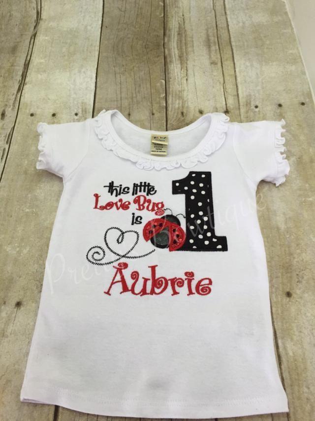 7b2e1606 First Birthday lady bug shirt Lady bug birthday shirt. This little LOVE BUG  is ONE