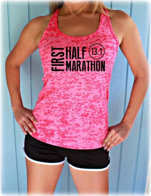 0335704d09142e Womens First Half Marathon Running Tank Top. 13 Point One Race Training Tank.  Burnout