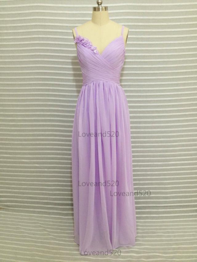 9f69ab73b10b2 Spaghetti Strap Lilac long prom bridesmaid dress, long chiffon wedding dress,long  bridesmaid dress. #bridesmaid dresses ...
