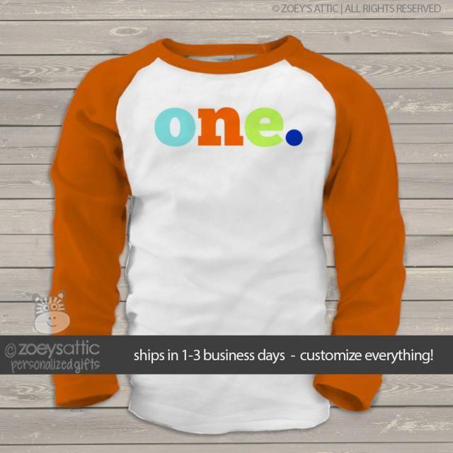 First Birthday Shirt Boy Or Girl Pick Your Letter Colors Custom 1st Raglan Tshirt MBD