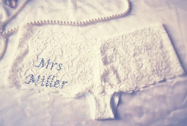 Personalised Wedding Ivory Lace Knickers with Blue Diamante. Bridal  Underwear Wedding Gift. Honeymoon Lingerie eaedb3901